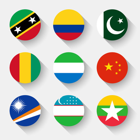 Flags of the world, set 13 with shadow Vector