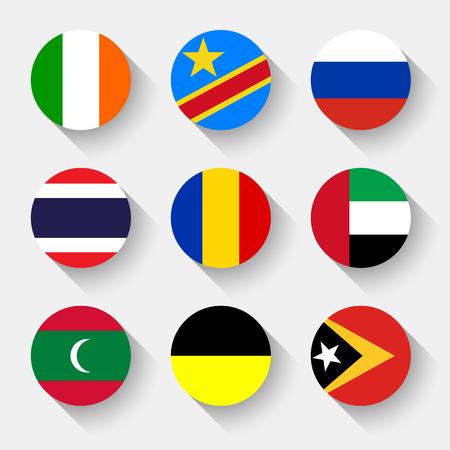 naciones unidas: Banderas del mundo, establecido el 14 con la sombra Vectores