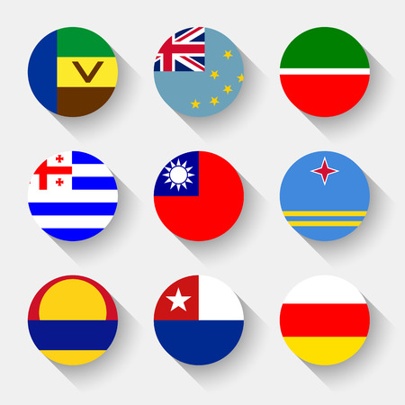 Flags of the world, set 15 with shadow