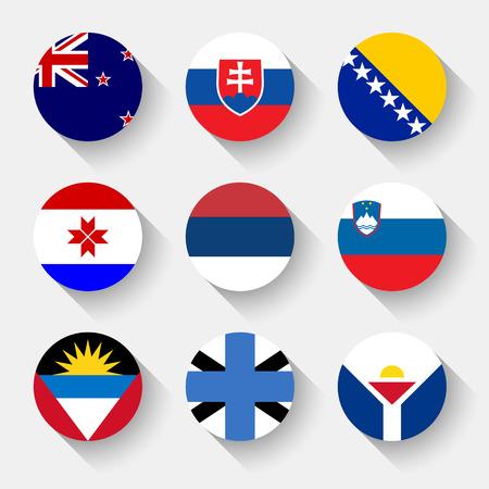 bandera de nueva zelanda: Banderas del mundo, establecido el 19 con la sombra Vectores