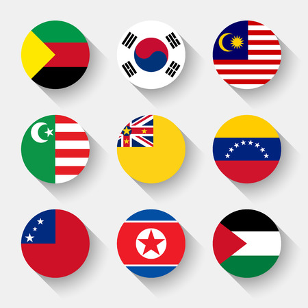 korea flag: Flags of the world, set 22 with shadow Illustration