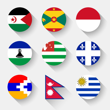 Flags of the world, set 23 with shadow Vector Illustration