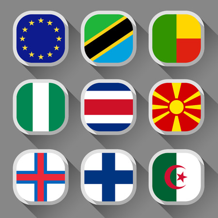 03: Flags of the world, rounded squares with shadow, set 03 Illustration