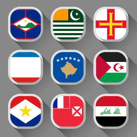 sahrawi arab democratic republic: Flags of the world, rounded squares with shadow, set 05