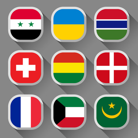 Flags of the world, rounded squares with shadow, set 06 Vector