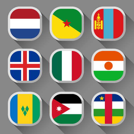 Flags of the world, rounded squares with shadow, set 09 Vector