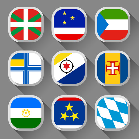 equatorial: Flags of the world, rounded squares with shadow, set 10 Illustration
