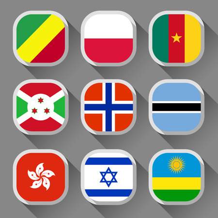Flags of the world, rounded squares with shadow, set 12 Vector