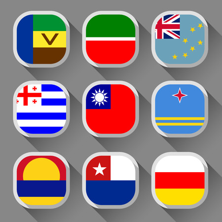 Flags of the world, rounded squares with shadow, set 15