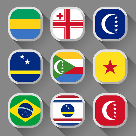 Flags of the world, rounded squares with shadow, set 18 Vector