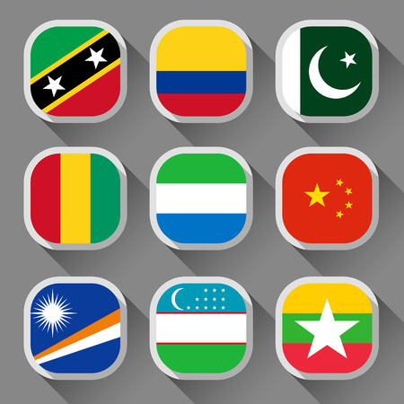 Flags of the world, rounded squares with shadow, set 13 Vector