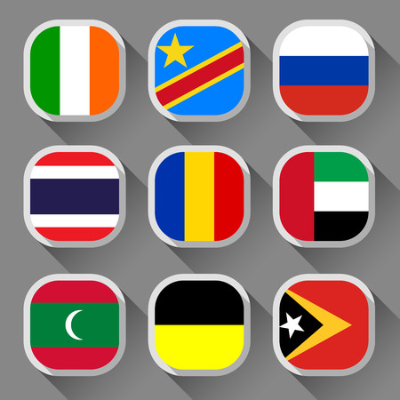 thailand symbol: Flags of the world, rounded squares with shadow, set 14