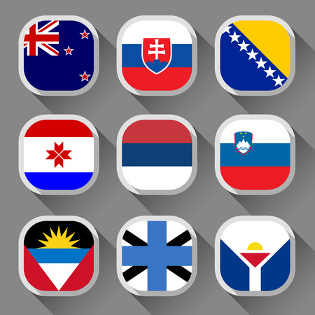 antigua: Flags of the world, rounded squares with shadow, set 19