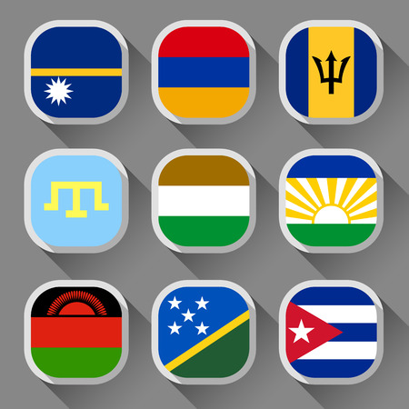 Flags of the world, rounded squares with shadow, set 21 Vector