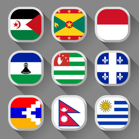 Flags of the world, rounded squares with shadow, set 23 Vector