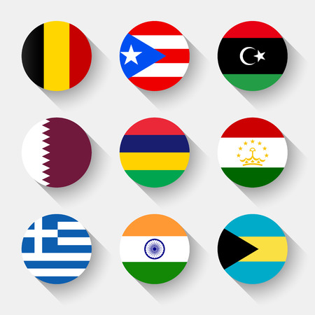 Flags of the world, round buttons with shadow sets Vector Illustration