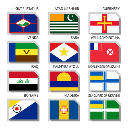 Flags of world, flat vector illustration.  Ilustração