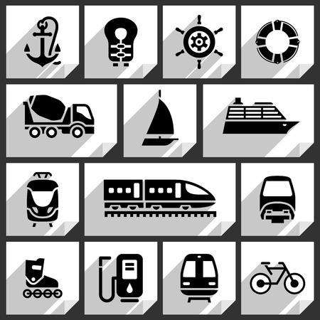Transport black icons on white paper stickers-01 Vector