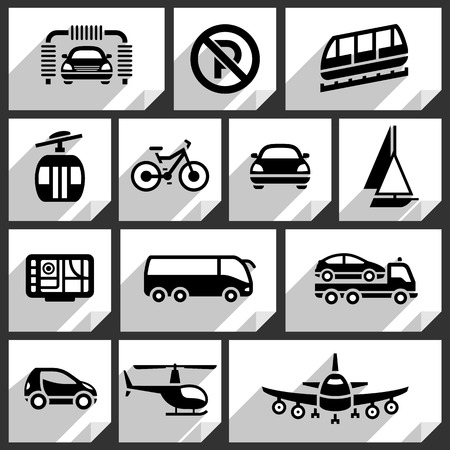 car navigation: Transport black icons on white paper stickers-04