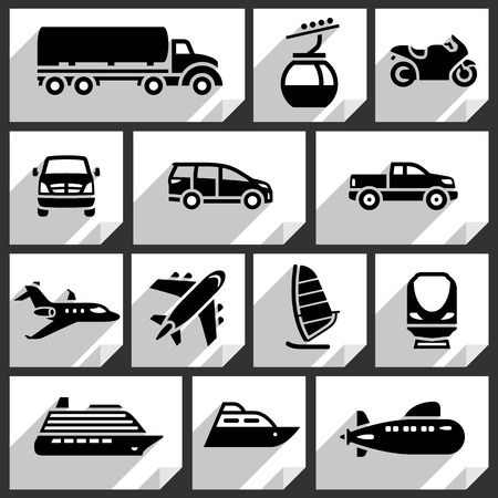 Transport black icons on white paper stickers-07