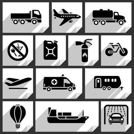 carro bomberos: Transporte iconos negros en las etiquetas adhesivas de papel blanco