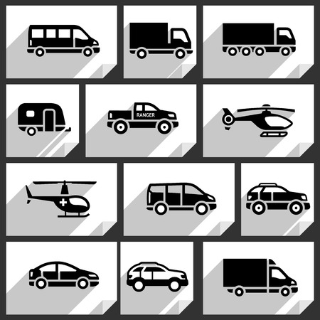 transportation facilities: Transport black icons on white paper stickers-03 Illustration
