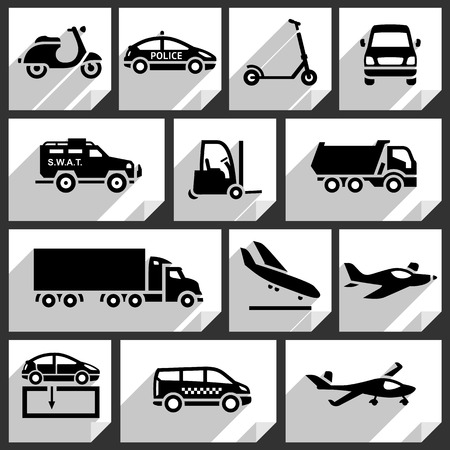 family van: Transport black icons on white paper stickers-05