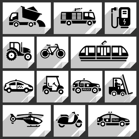 Transport black icons on white paper stickers-06 Vector