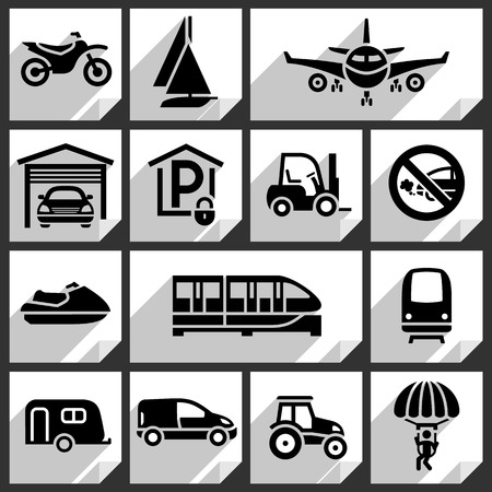 Transport black icons on white paper stickers-08 Vector