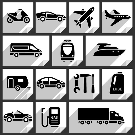 Transport black icons on white paper stickers