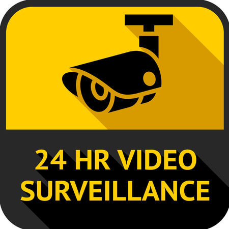 Video surveillance, set square stickers, vector illustration