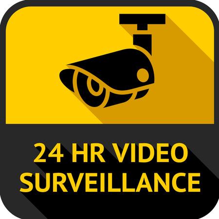 Videobewaking, ingesteld vierkant stickers, vector illustratie