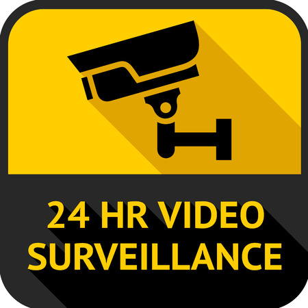 caution cctv: Video surveillance, set square stickers, vector illustration