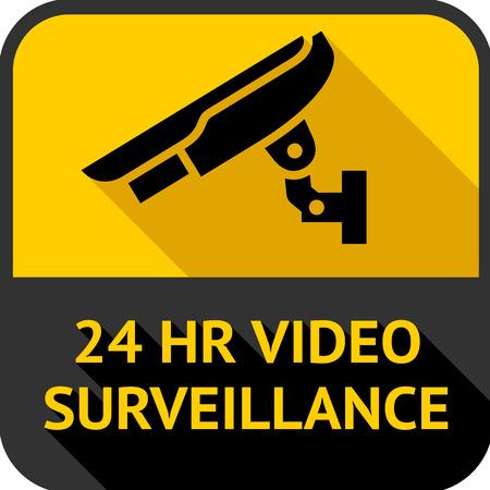 set square: Video surveillance, set square stickers, vector illustration