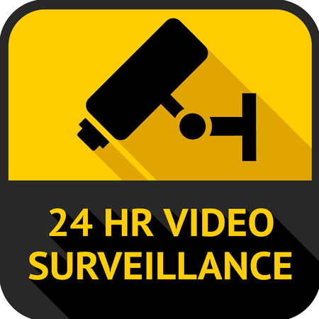 Video surveillance, set square stickers, vector illustration Vector