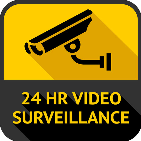 24 hr: Video surveillance, set square stickers, vector illustration