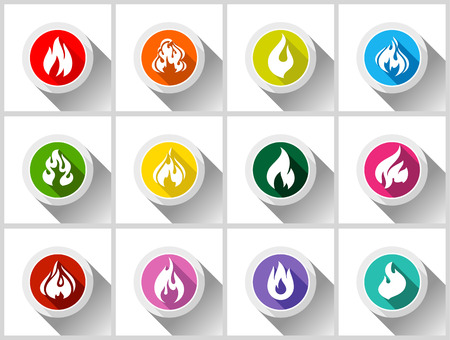 flammable: Fire flames, set buttons with shadow in circle shape-01
