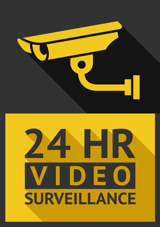 vigilante de seguridad: C�mara de seguridad pegatina Piso 01, ilustraci�n vectorial