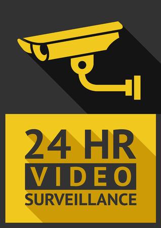 security guard: Flat sticker security camera 01, vector illustration Illustration