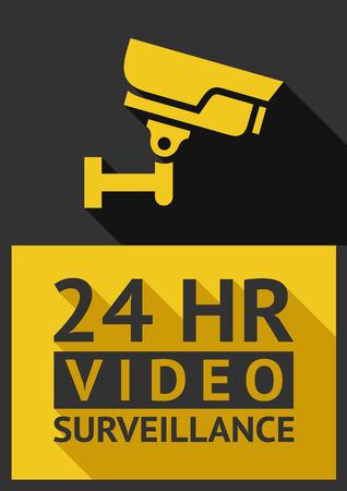 Platte sticker bewakingscamera 02, vector illustratie Stock Illustratie