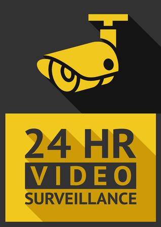 03: Flat sticker security camera 03, vector illustration Illustration