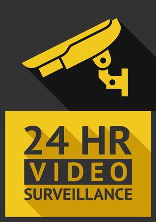 security symbol: Flat sticker security camera 04, vector illustration