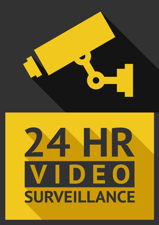 Flat sticker security camera 05, vector illustration