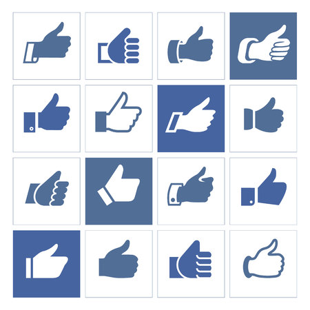 buff: Like, set icons illustrations, set blue silhouettes isolated on white background.
