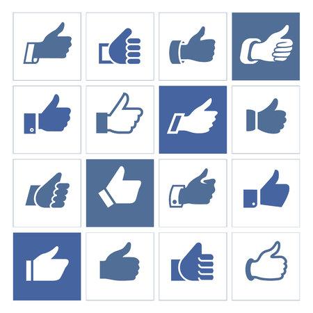 caller: Like, set icons illustrations, set blue silhouettes isolated on white background.