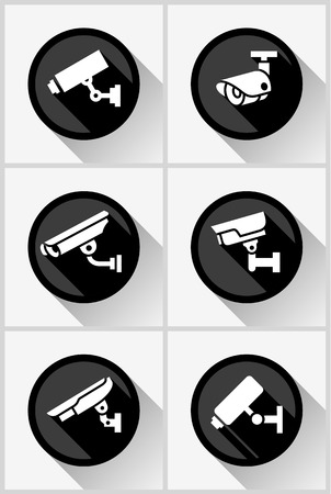 monitored area: cctv camera set black circle stickers, vector illustration Illustration