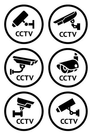 Cámaras de seguridad 6 pictogramas conjunto, ilustración vectorial
