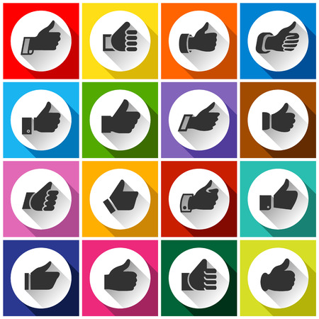 caller: Thumbs up, white round buttons on color background Illustration
