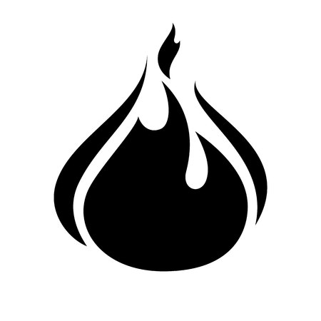 flammable: Fire flame icon, black icon isolated on white background