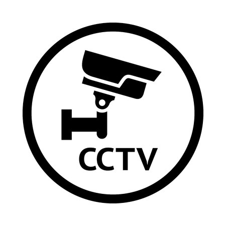 hazard: CCTV symbol, black emblem isolated on white background Illustration
